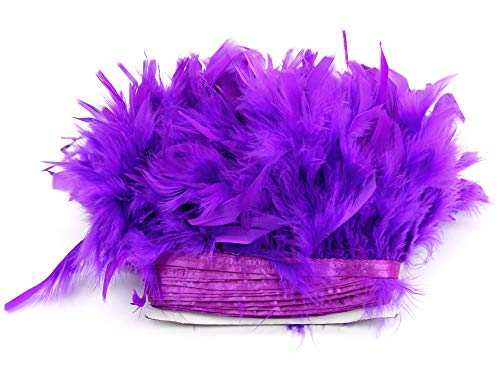 PANAX Turkey Feathers on 2m/2.18 Yard Strips Approx. 10-15cm/4-6 Inches Length of Feathers - Ideal for Crafting, Carnival, Weddings, Decorations -