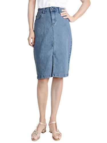 Anna-Kaci Women Stretch High Waist Front Slit Blue Denim Jean Pencil Midi Skirt, Blue, Medium