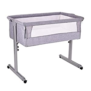 Bedside Side Sleeping Crib Iron Portable Easy to Assemble - Grey 96 X 58 X 77cm