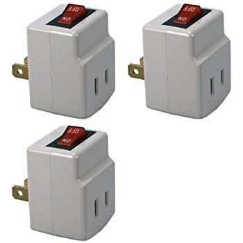 Single Port Power Adapter for outlet with On/Off Switch to be energy saving - 3 Pack