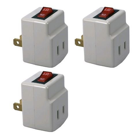 Off Switch - Single Port Power Adapter for outlet with On/Off Switch to be energy saving - 3 Pack