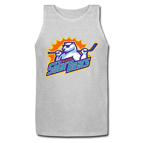 VGeee Men's Orlando Solar Bears ECHL Ice Hockey Logo Gray Cotton Tank Top