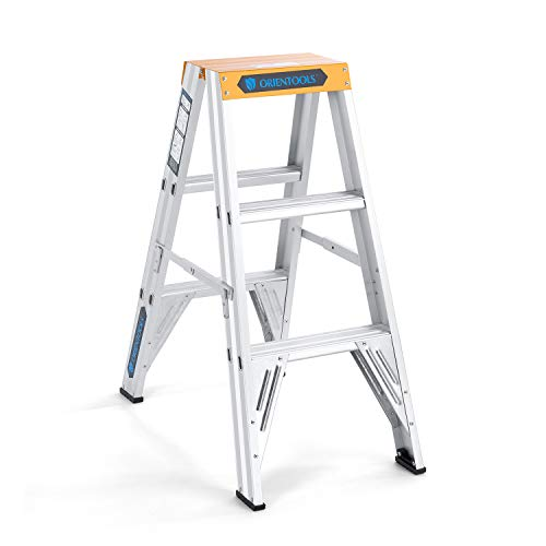 ORIENTOOLS Twin Front Ladder with 300 lb Duty Rating (Load Capacity Type IA), Aluminum Step Ladder 3 Feet