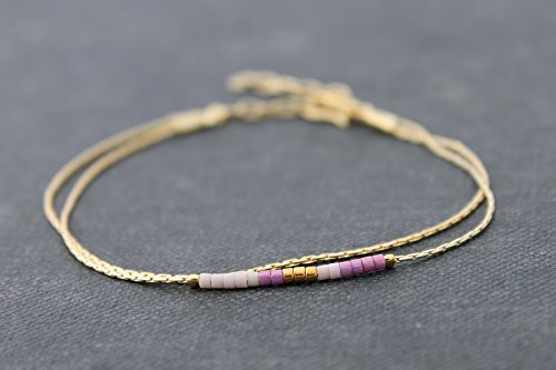 Delicate Beaded Bracelets, Miyuki Small Beads Bracelets, Petite Minimal Gold Chain Purple Mix Strand Bracelets