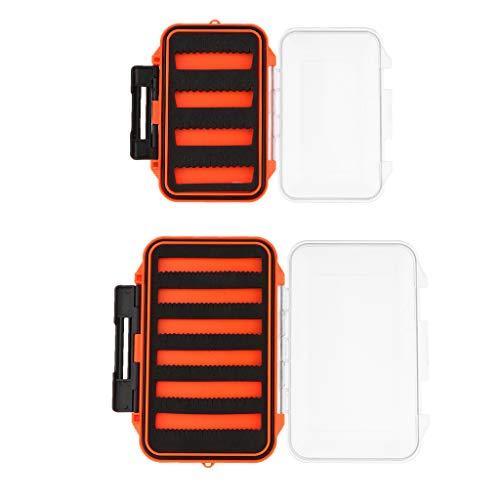 kesoto 2Pcs Fly Fishing Box Fishing Lure Case Slit Foam Jig Hook Box Outdoor Waterproof Tackle Box