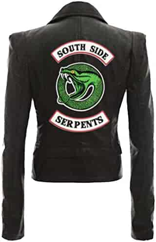 6928bdb2 Silver Basic Womens Novelty Faux Leather Track Jackets Riverdale Southside  Serpents Girls Costume Jacket