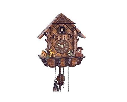 Alemán reloj de cuco madera tallada 24cm Bambi, espectacular reloj de cuco en madera.