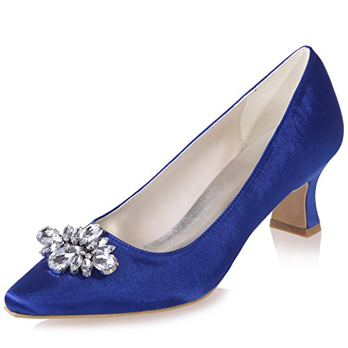 Heels Sarahbridal 02 Rhinestone Shoes Blue Party Evening For Low Girls Pointed 7 5 Toe 4 Wedding Women's Szxf0723 Uk Shoe Bridal Size Uk Prom Satin rrOwUqC
