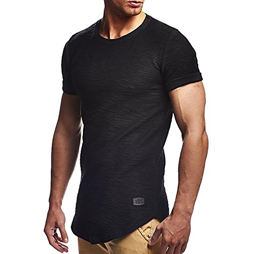 Men's Summer Shirts, JOYFEEL  Pure Color Cotton Casual Blouse Crewneck Slim Fit Muscle Workout Sport Tops Tee ()