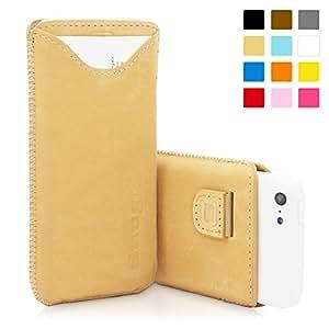 Snugg B00EYYBN9U - Funda de piel para iPhone 5C (tarjetero, cinta elástica e interior de nobuck), con garantía de por vida, color moreno