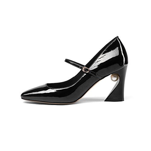 JIEEME Ladies Fashion Block Heel Genuine Leather Buckle Strap Black Blue High Heels Women Court Shoes Black RKZHzsoDeW