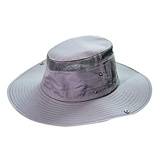 Adjustable Sun Hat for Men Outdoor Sun Protection Wide Brim Bucket Waterproof Wide Brim Breathable Fishing Hats Gray