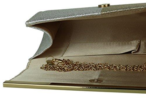 Girly Handbags - Cartera de mano de Material Sintético para mujer dorado y plateado