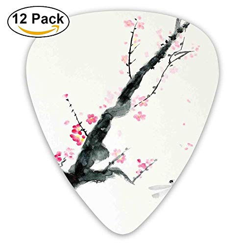 - Branch Of A Pink Cherry Blossom Sakura Tree Bud And A Dragonfly Dramatic Artisan Guitar Picks 12/Pack