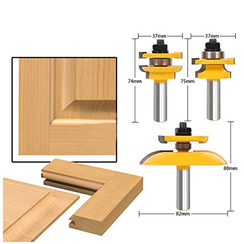 HOEN 1/2'' Shank Rail & Stile Ogee Blade Cutter Panel Cabinet Router Bits Set Milling cutter Power Tools Door knife Wood Cutter by HOEN