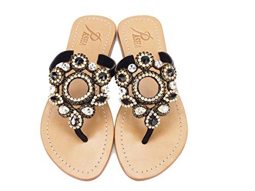 Genuine Leather Jeweled Shoes Pasha, Sulawesi (7) Clear/Black