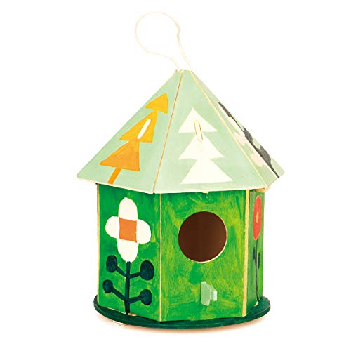 - ROBUD Art Craft Wood Toys 3-D Painting Puzzle Bird House DIY Wooden Assembly Modle Building Kits with 6 Color Pigments & Brush for Kid Children Educational Fun Creative Gifts