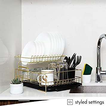 Amazon.com: Gold Dish Drying Rack, 2 Tier Dish Drying Rack - Large Dish Rack and Drainboard Set, Dish Drainers for Kitchen Counter- Gold Dish Rack with Easy ...