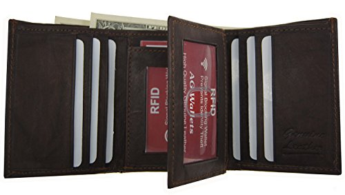 Mens Cowhide Scan Brown Rfid Proof Leather Wallets Wallet Trifold Blocking qCEwdEp