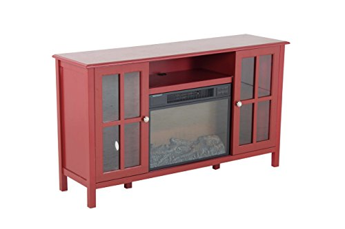 Oliver and Smith – Indoor Antique Red Glass Farm Door Fireplace – Fireplace with Fireplace insert – 56″ W x 15″ D x 32″ H Entertainment System – Langley For Sale
