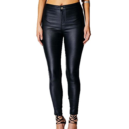 LANDFOX Mujeres Botón Slim Alta Cintura Pantalones Pies Pantalones De Cuero De Alta Cintura Legging Negro