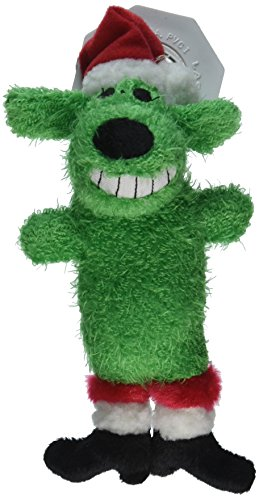 Christmas Loofa (Multipet's Santa Loofa Plush Dog Toy That Squeaks, Green)