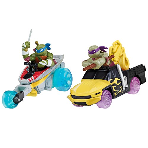 Teenage Mutant Ninja Turtles T-Machines Leonardo in Stealth Cycle and Donatello in Service Truck Diecast Vehicle (2-Pack)