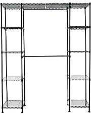Amazon Basics Expandable Metal Hanging Storage Organizer Rack Wardrobe with Shelves