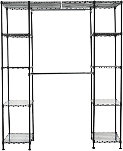 AmazonBasics Expandable Metal Hanging Storage Organizer Rack Wardrobe with Shelves, 14″-63″ x 58″-72″, Black