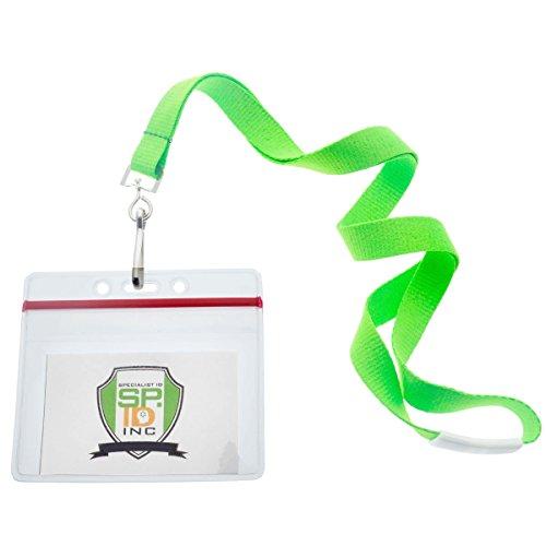 12 Pack - Premium Bright Neon Lanyards with Breakaway Clasp & Heavy Duty Ziplock Badge Holder by Specialist ID (Horizontal, Green) -
