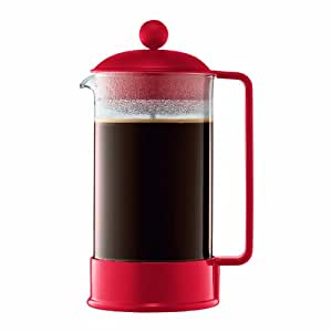 Bodum Brazil French Press Coffee Maker, 34 Ounce, 1 Liter (8 cup), Red