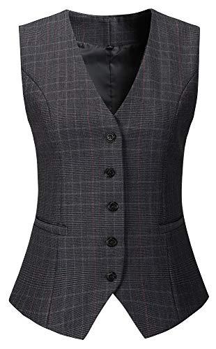 Vocni Women's Fully Lined 4 Button V-Neck Economy Dressy Suit Vest Waistcoat (US M (Fit Bust 36.6
