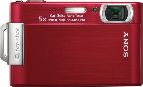 (Sony Cybershot DSC-T200 8.1MP Digital Camera with 5x Optical Zoom with Super Steady Shot Image Stabilization (Red))