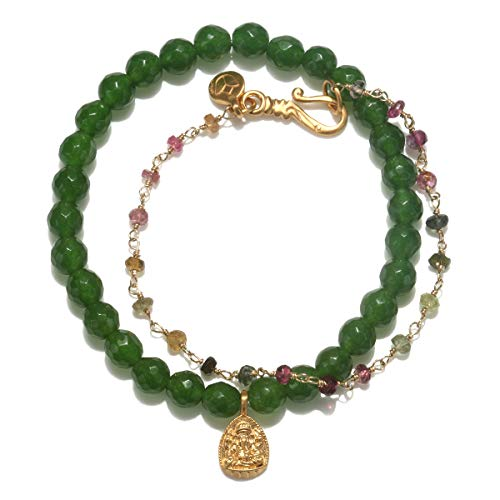 Satya Jewelry Women's Jade and Tourmaline Gold Ganesha Bracelet Set, Multi, One - Gold Tourmaline Set Jewelry