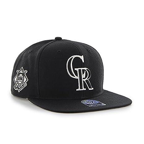 new concept 87014 c1026 Amazon.com   Colorado Rockies MLB Black Sure Shot 47 Brand Captain Wool  Flat Bill Snapback Hat   Sports   Outdoors