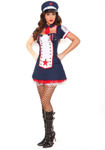 [Sexy Naval Knockout Costume, Navy, Large] (Knock Out Costumes)