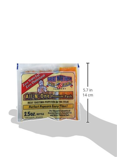 4098 Great Northern Popcorn Bulk Case (80) of 2.5 Ounce Premium Quality Popcorn Portion Packs 2 1/2oz