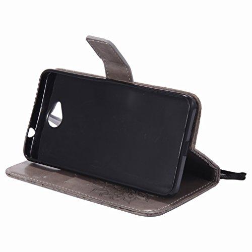 Yiizy Microsoft Lumia 650 Custodia Cover, Sole Petali Design Sottile Flip Portafoglio PU Pelle Cuoio Copertura Shell Case Slot Schede Cavalletto Stile Libro Bumper Protettivo Borsa (Grigio)