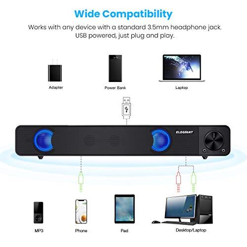 Computer Speakers, ELEGIANT Wired Computer Sound Bar, Stereo USB Powered Mini Soundbar Speakers for PC Tablets Laptop Desktop Projector Cellphone, Black