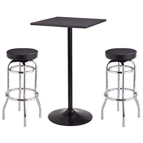 Costway Bar Table Stools Set Bistro Pub Table Set w/ Retro Nostalgic Style Bar Stool