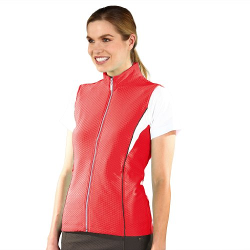 Monterey Club Ladies Dry Swing Honeycomb Texture Colorblock Insert Vest #2767 (Firebrick/White, Large)