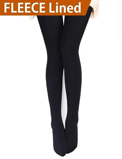 f6515008ec5d9 VERO MONTE 1 Pair Womens Opaque Warm Fleece Lined Tights (BLACK) 460112