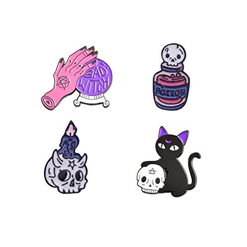 Cute Enamel Lapel Pins Sets Cartoon Animal Plant Fruits Foods Brooches Pin Badges for Clothing Bags Backpacks Jackets Hat DIY (Witch Halloween Set of 6)