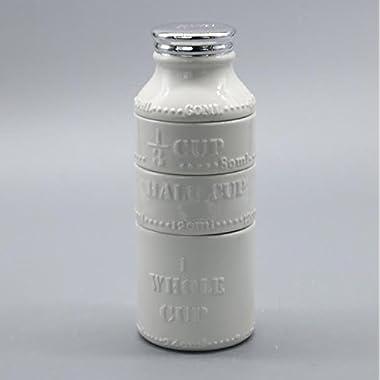 Vintage Milk Bottle Measuring Cups, 4 piece set, measure & store spices, unique kitchen accessory useful for baking & cooking, stackable ceramic, vibrant interior colors, classic white