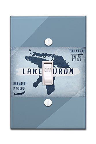 Lake Huron  Michigan   Lake Essentials   Shape  Acreage And County  Light Switchplate Cover