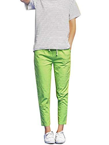 Donna Festivo Puro Lunga Coulisse Larghi Eleganti Abbigliamento Pantaloni Sciolto Qk Estivi lannister Colore Pantalone Grün Libero Colpo Tempo Leggero gwOqOnvE