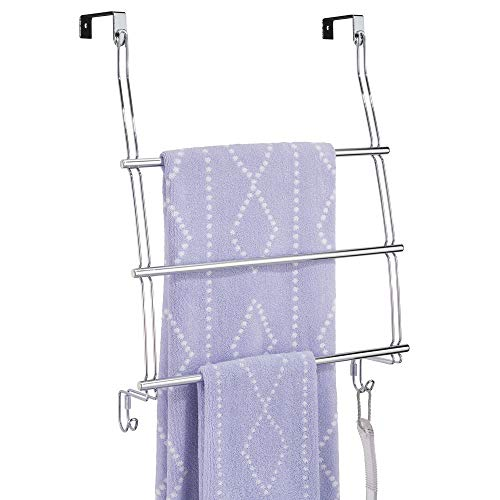 mDesign Modern Decorative Metal Wire Over The Door Towel Rack Holder Organizer with Hooks - for Storage of Bathroom Towels, Washcloths, Hand Towels, Loofahs and Sponges - ()
