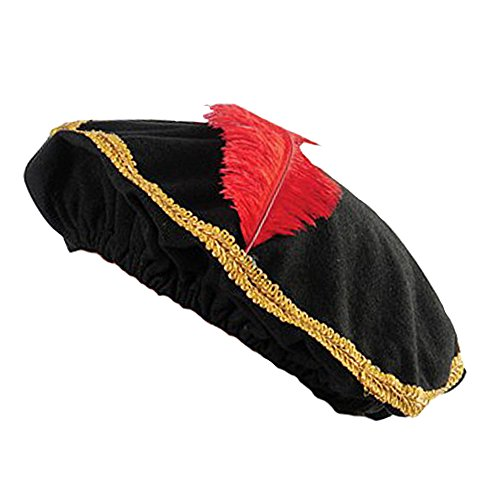 Feather Trim Red Wool Hat - Adult Renaissance Medieval Page Minstrel Costume Cap