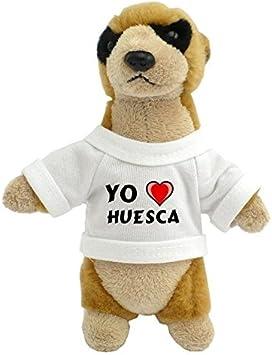 Suricata personalizada de peluche (juguete) con Amo Huesca en la camiseta (ciudad / asentamiento)