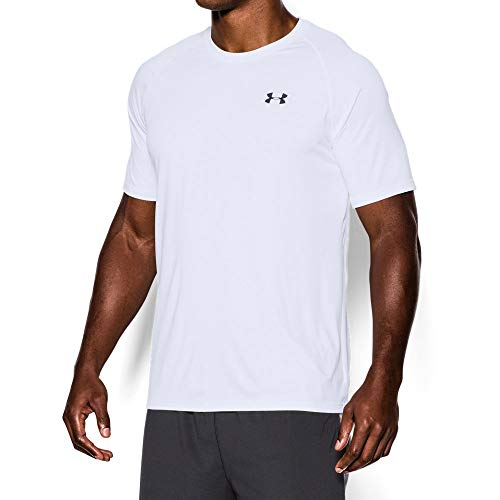 Under Armour Men's Tech Short Sleeve T-Shirt, White /Black, Large